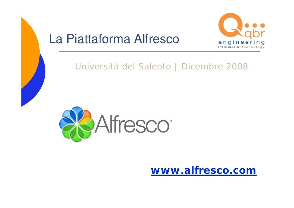 La Piattaforma Alfresco      Università del Salento | Dicembre 2008                         www.alfresco.com