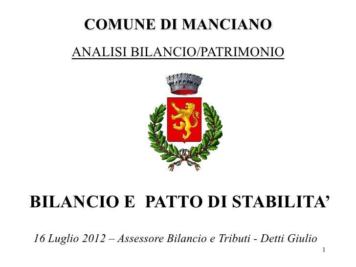 Presentazione Bilancio Comune di Manciano