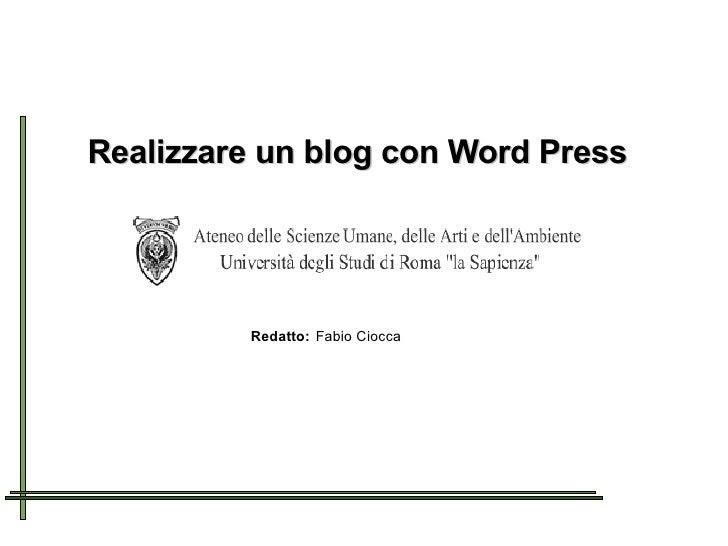 Presentazione Blog Università la Sapienza