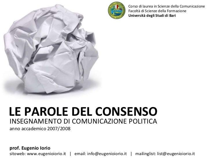 Presentazione Corso di Comunicazione politica Aa08.09