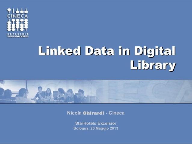 Linked Data in DigitalLinked Data in DigitalLibraryLibraryNicola Ghirardi - CinecaStarHotels ExcelsiorBologna, 23 Maggio 2...