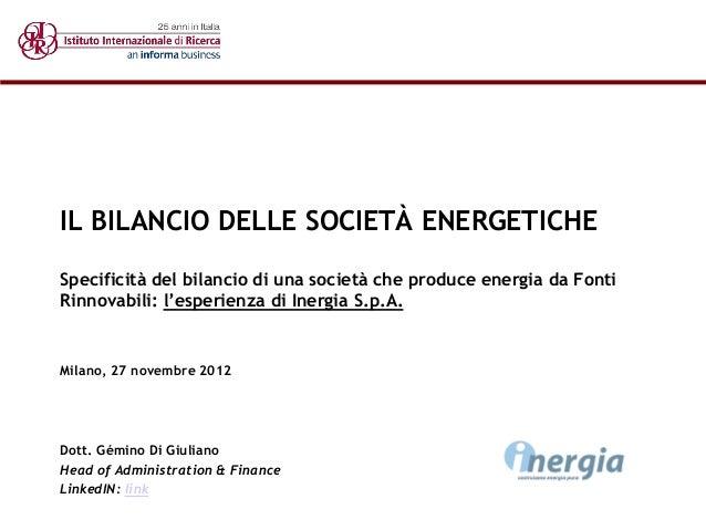 IL BILANCIO DELLE SOCIETÀ ENERGETICHE