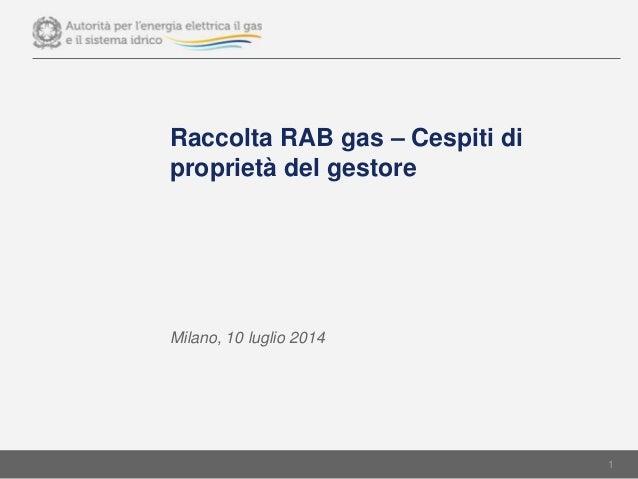 Raccolta RAB gas – Cespiti di proprietà del gestore Milano, 10 luglio 2014 1