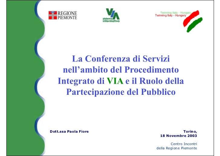 Twinning Italy - HungaryDott.ssa Paola Fiore                Torino,                          18 Novembre 2003             ...