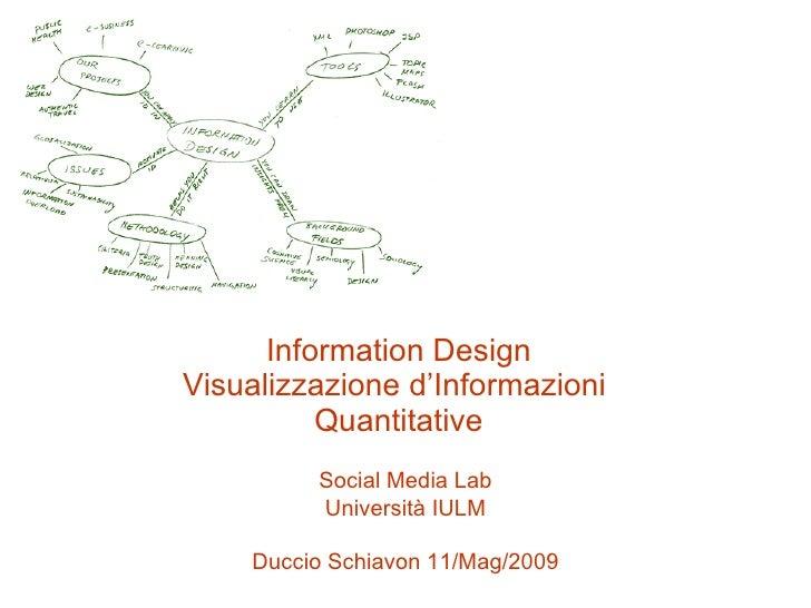 Information Design Visualizzazione d'Informazioni  Quantitative Social Media Lab Università IULM Duccio Schiavon 11/Mag/2009