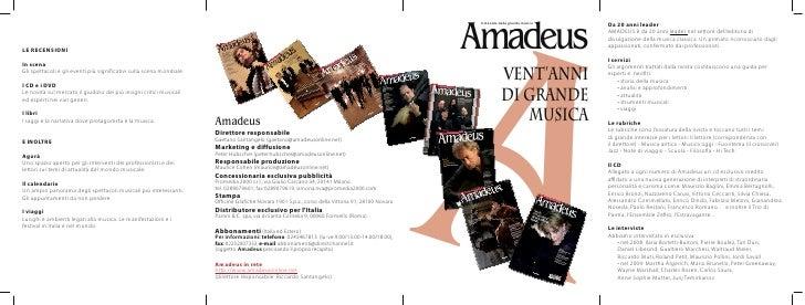 A Amadeus  Il mensile della grande musica                 Vent'anni             di grande                musica