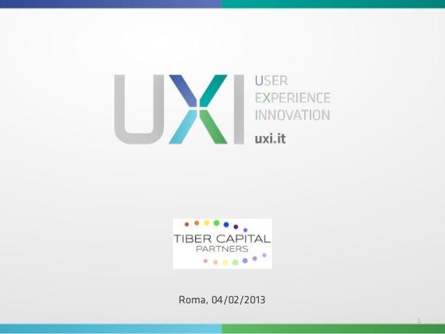 Tiber Capital Partners - Presentazione aziendale UXI Srl