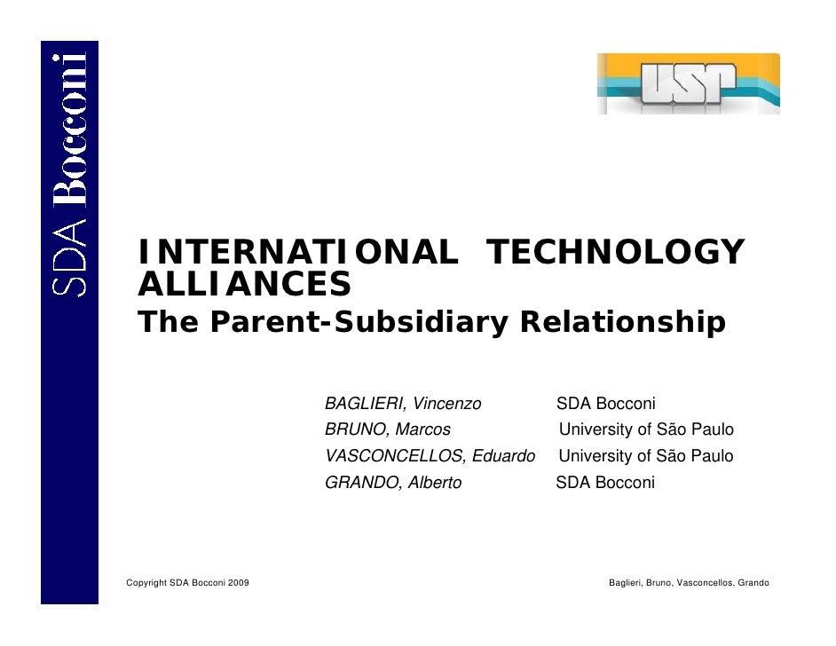 Presentazione Baglieri & Bruno - International Technology Alliances The Parent Subsidiary Relationship