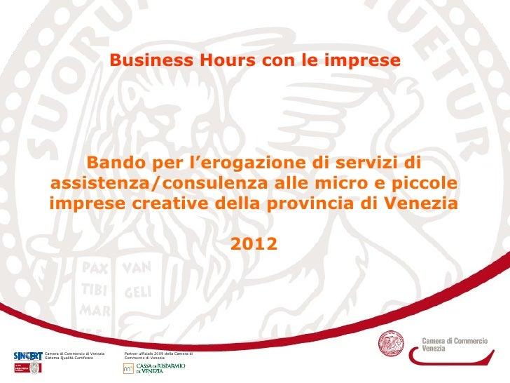 Presentazione Bando Imprese Creative 2012