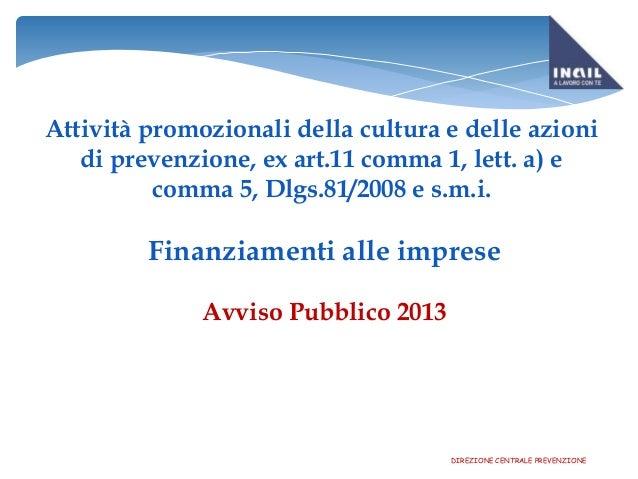 Presentazione Bando INAIL 2013