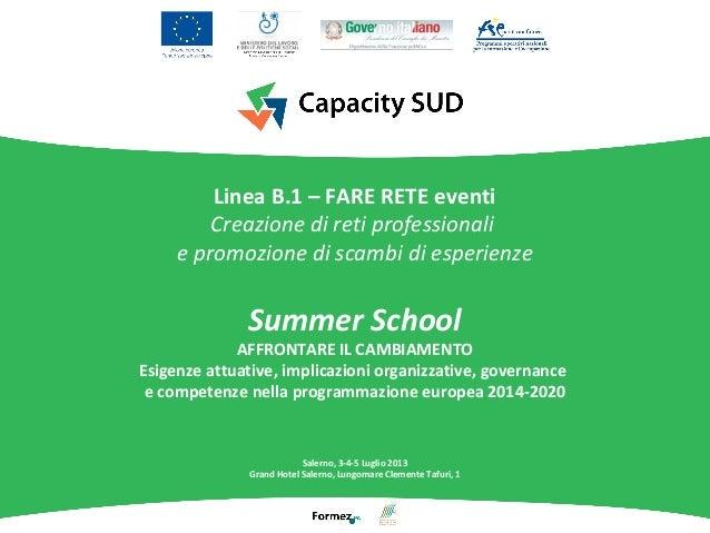 Linea B.1 – FARE RETE eventi Creazione di reti professionali e promozione di scambi di esperienze Summer School AFFRONTARE...