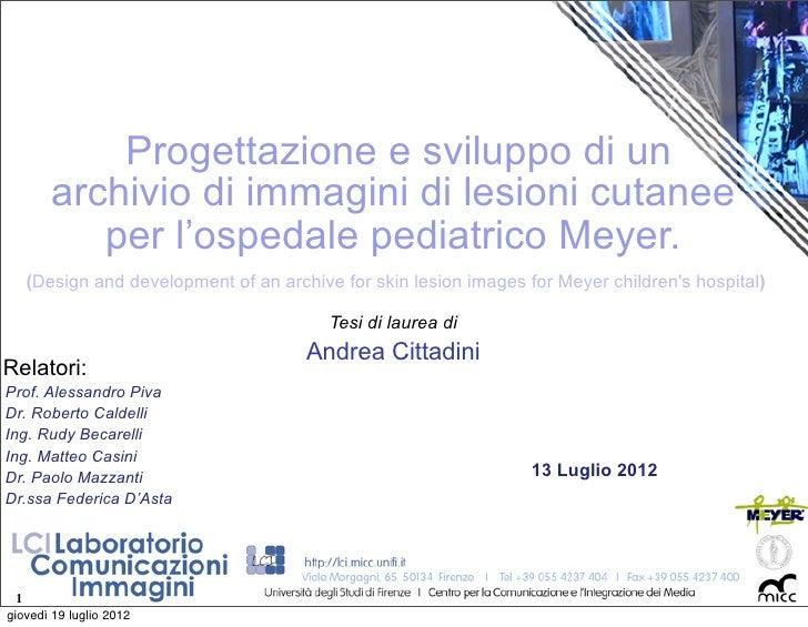 Progettazione e sviluppo di un        archivio di immagini di lesioni cutanee           per l'ospedale pediatrico Meyer.  ...