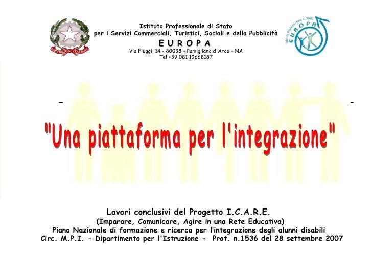 Istituto Professionale di Stato per i Servizi Commerciali, Turistici, Sociali e della Pubblicità E U R O P A   Via Fiuggi,...