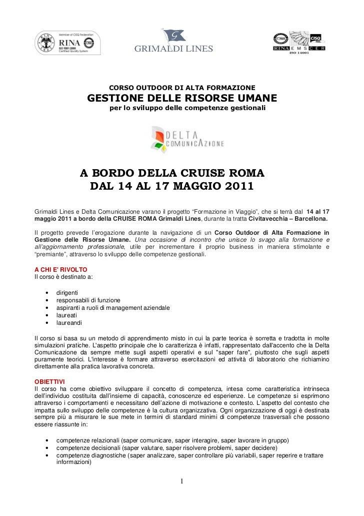CORSO OUTDOOR DI ALTA FORMAZIONE                    GESTIONE DELLE RISORSE UMANE                            per lo svilupp...