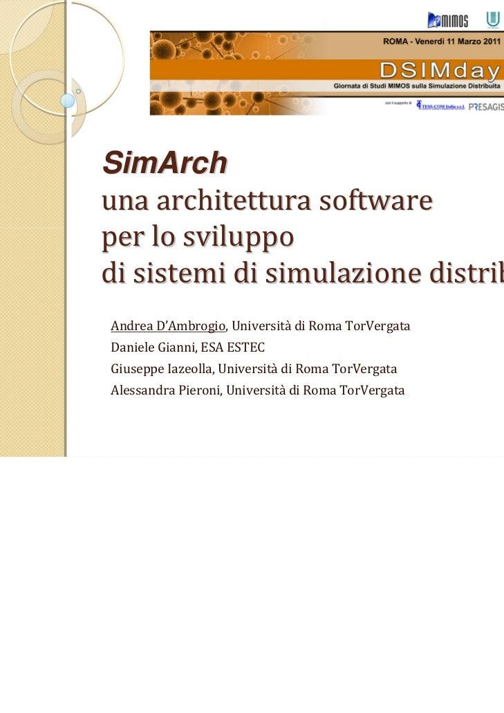 SimArch: un'architectura software per lo sviluppo di sistemi di simulatione distribuita