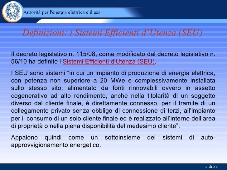 AEEGSI - SEU: Sistemi Efficienti d'Utenza