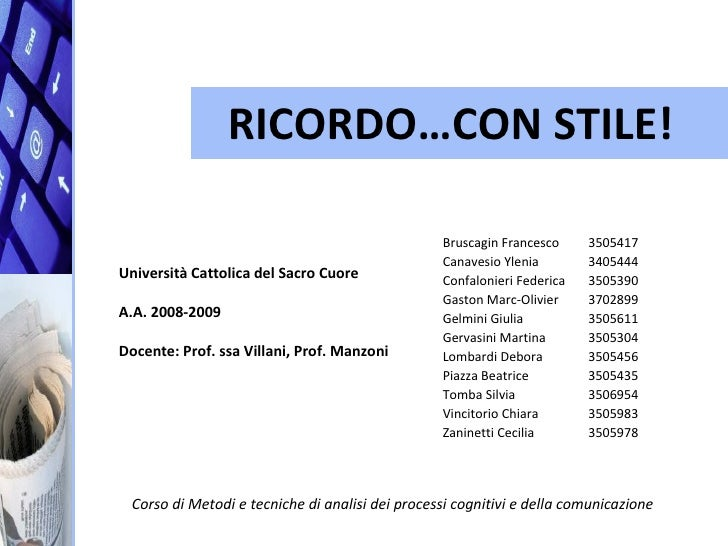 RICORDO…CON STILE!                                                   Bruscagin Francesco     3505417                      ...