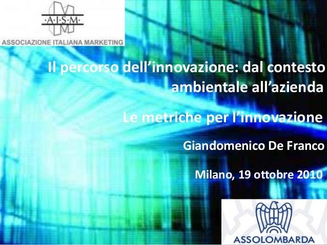 Il percorso dell'innovazione: dal contesto ambientale all'azienda Milano, 19 ottobre 2010 Giandomenico De Franco Le metric...