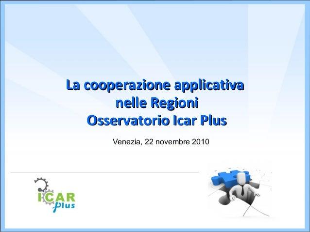 La cooperazione applicativaLa cooperazione applicativa nelle Regioninelle Regioni Osservatorio Icar PlusOsservatorio Icar ...