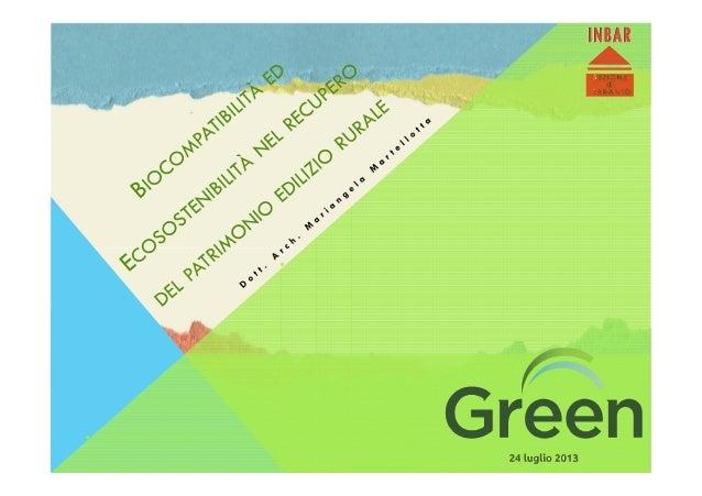 Presentazione evento green 2013 - Dott. Arch. Mariangela Martellotta