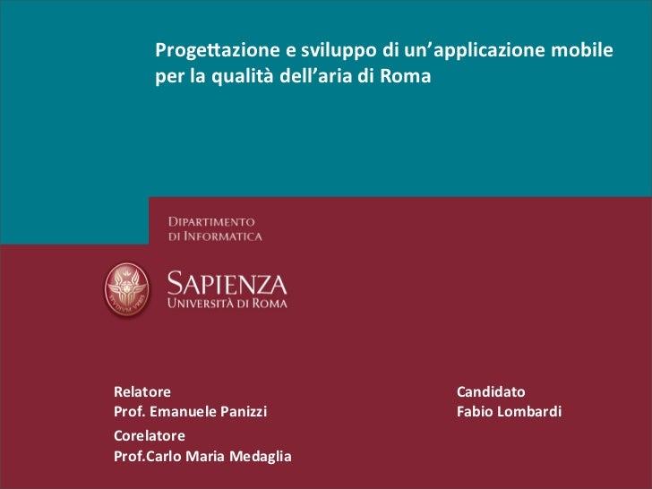 Progettazione e sviluppo di un'applicazione mobile per la qualità dell'aria a roma_fabio lombardi