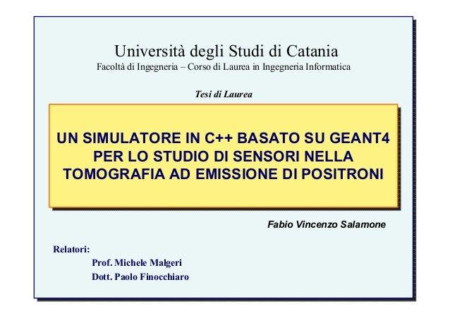 Università degli Studi di Catania Facoltà di Ingegneria – Corso di Laurea in Ingegneria Informatica UN SIMULATORE IN C++ B...