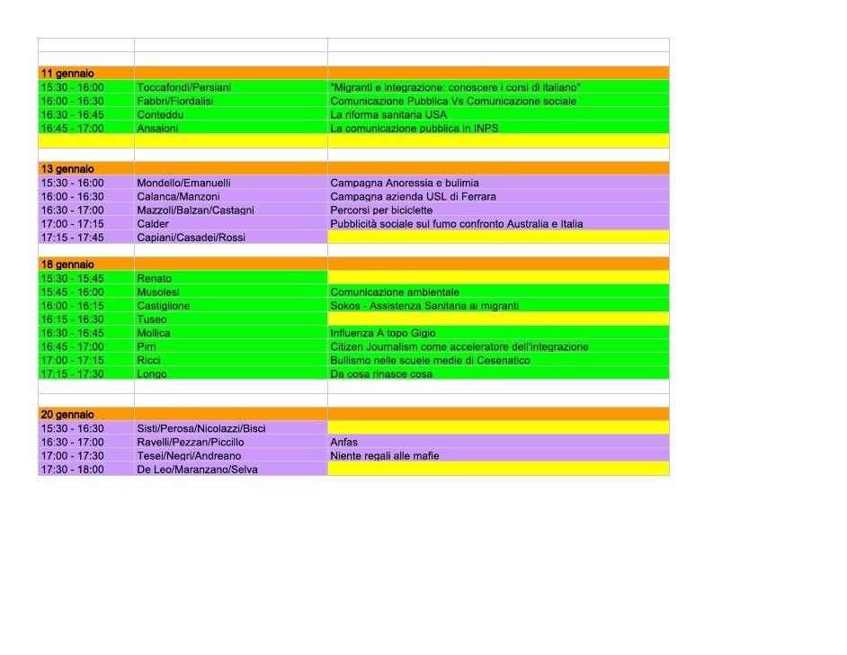 Calendario presentazioni in aula