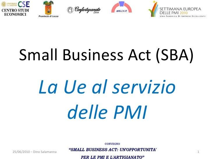Intervento sullo Small Business Act (sba) - La Ue al servizio delle pmi