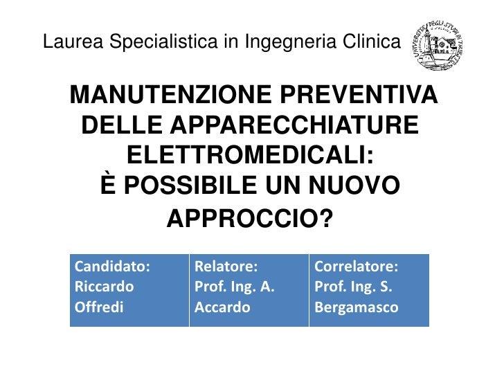 Presentazione Laurea R. Offredi