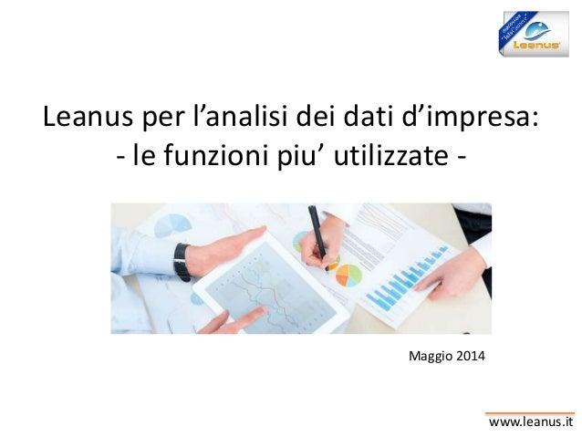 www.leanus.it Leanus per l'analisi dei dati d'impresa: - le funzioni piu' utilizzate - Maggio 2014