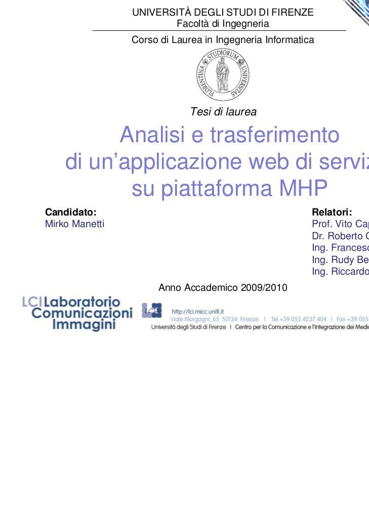 Analisi e trasferimento di un'applicazione web di servizio su piattaforma mhp
