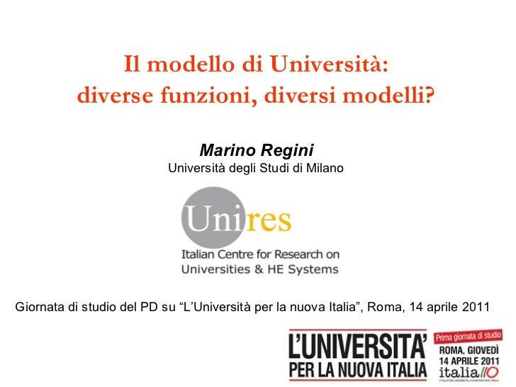 Il modello di Università: diverse funzioni, diversi modelli? Marino Regini Università degli Studi di Milano Giornata di st...