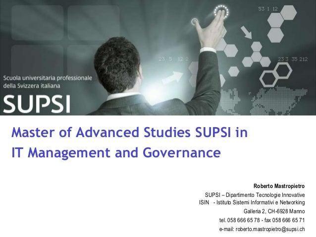 DTI / Master of Advanced Studies SUPSI in IT Management and GovernanceMaster of Advanced Studies SUPSI inIT Management and...