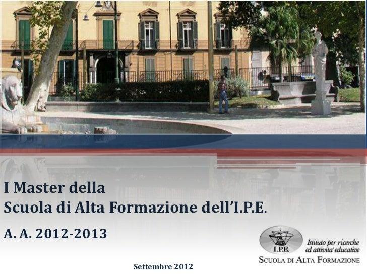 Presentazione Master IPE  2012-13 (Finanza, Bilancio, Shipping)
