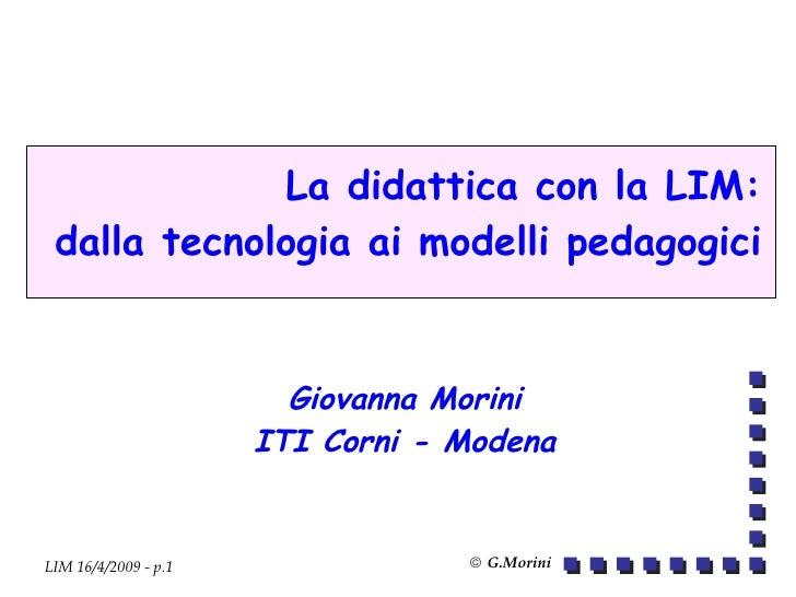 Presentazione Prof.ssa Giovanna Morini