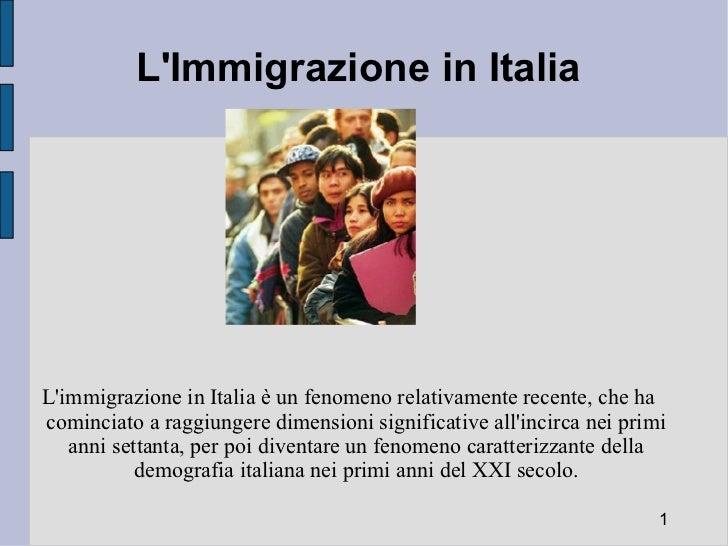 presentazione immigrazione