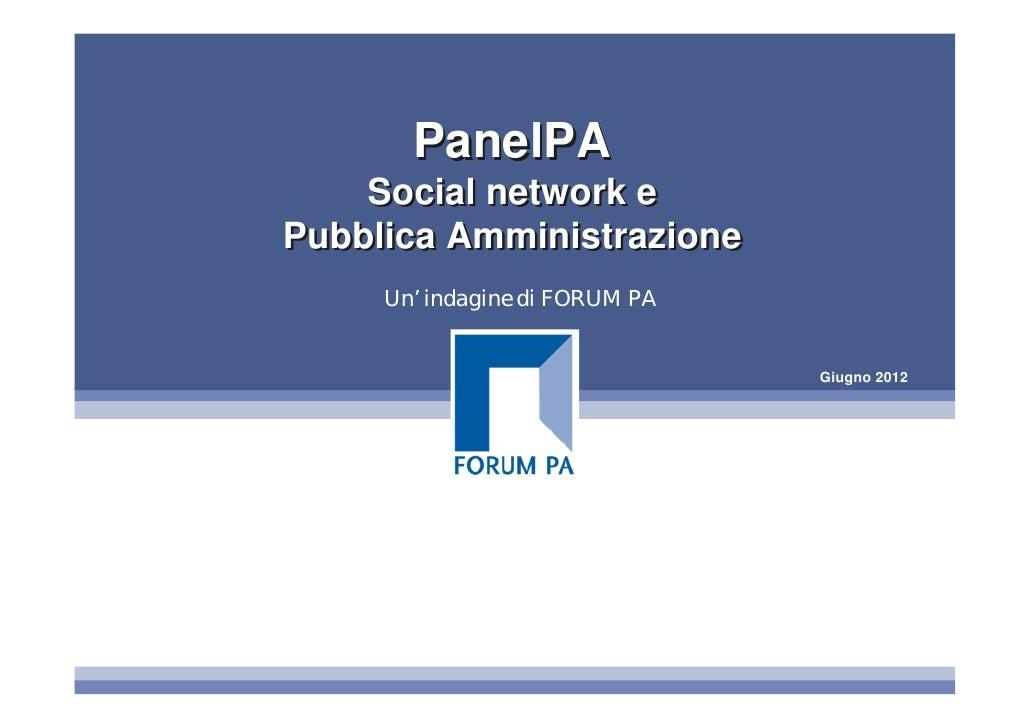 PanelPA Social network e Pubblica Amministrazione