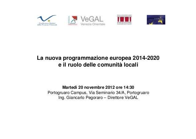 Presentazione pegoraro 20.11.2012