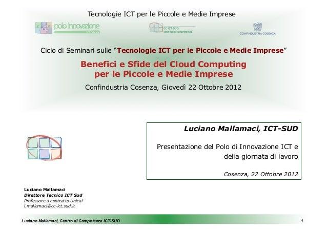 """Tecnologie ICT per le Piccole e Medie Imprese         Ciclo di Seminari sulle """"Tecnologie ICT per le Piccole e Medie Impre..."""