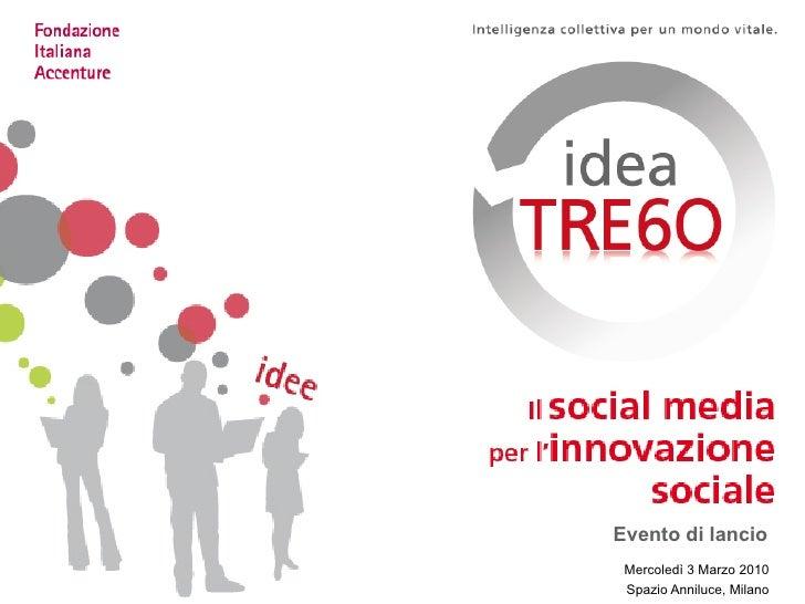 Evento di lancio  Mercoledì 3 Marzo 2010  Spazio Anniluce, Milano