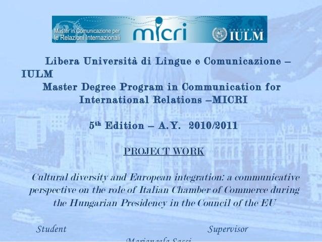 Libera   Università di Lingue e Comunicazione –IULM   Master Degree Program in Communication for          In...