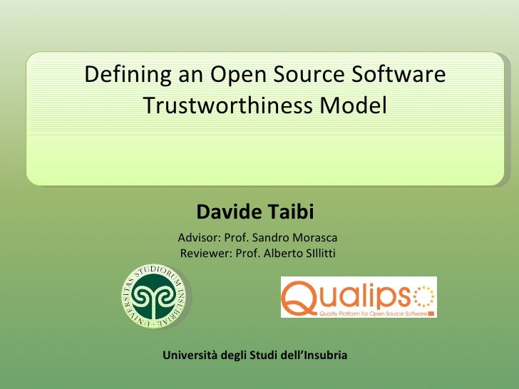 Defining an Open Source Software Trustworthiness Model