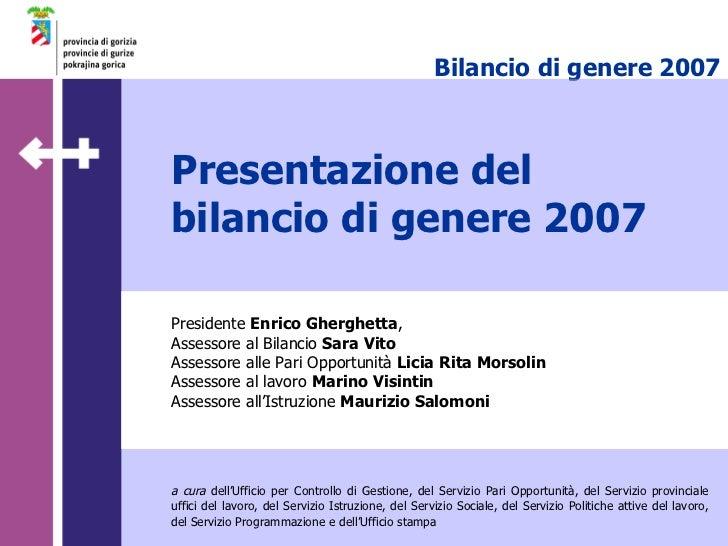 Presentazione del bilancio di genere 2007