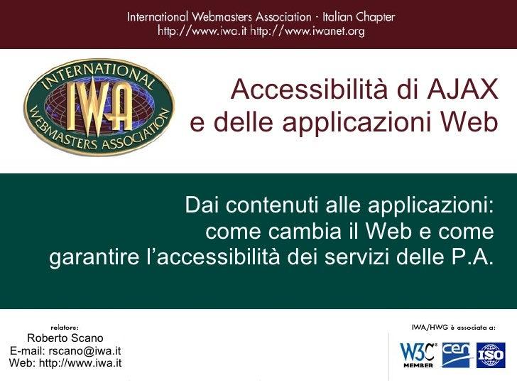 Accessibilità Applicazioni Web