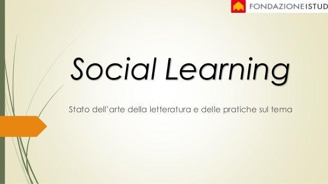 Stato dell'arte della letteratura e delle pratiche sul tema Social Learning