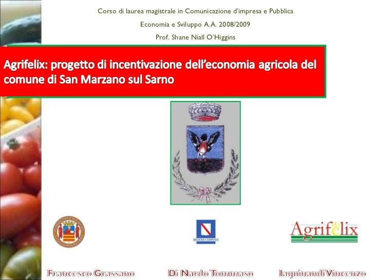 Progetto Economia e Svilippo AgriFelix