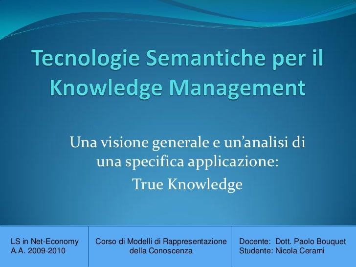 Tecnologie semantiche per il knowledge Management