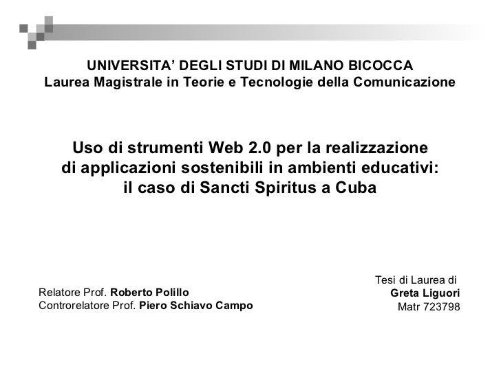 Uso di strumenti Web 2.0 per la realizzazione di applicazioni sostenibili in ambienti educativi: il caso di Sancti Spiritus a Cuba