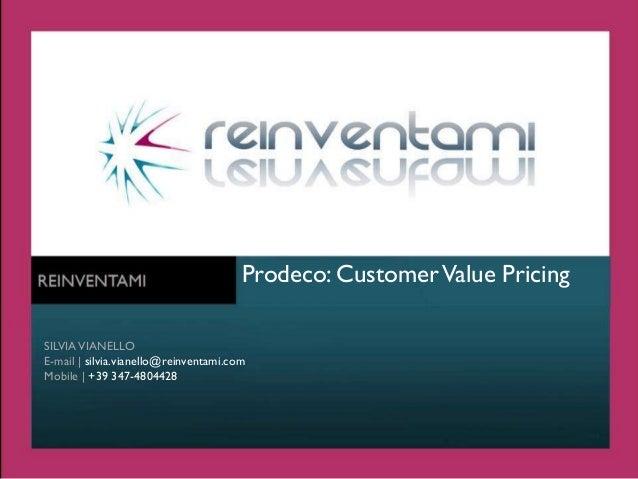 Prezzo Margine e Valore per il Cliente Settore Farmaceutico