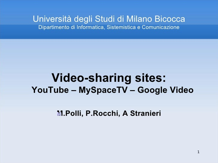 Corso Web 2.0: Video-sharing sites